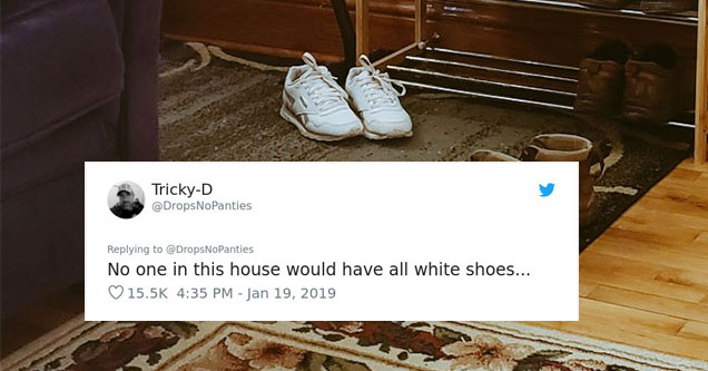 a pair of shoes in the living room with a tweet on top of them