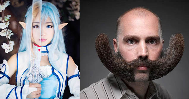 Blue hair Elf with a sword cosplay. Man with insane mustache.