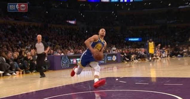 Steph Curry about to fall down.