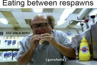 Danny Devito eating a sandwich as gun shot fire.