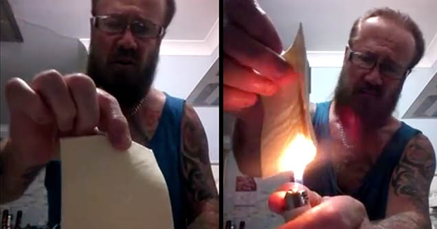 A man from Australia holds up a slice of individually wrapped cheese. On the right a man lights a cigarette lighter and holds it under a slice of cheese.