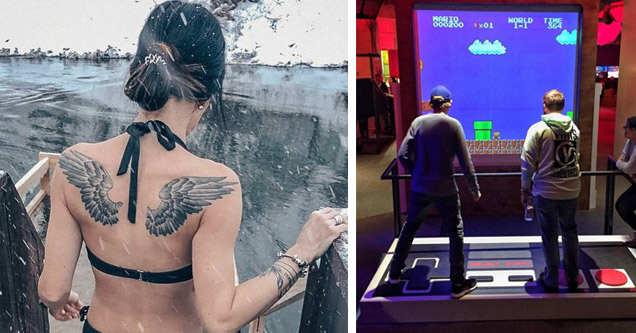 a woman with angel wing tattoos standing in front of a snow covered pond and two guys on a dance dance revolution styled game with an NES controller and playing super mario brothers on the nes
