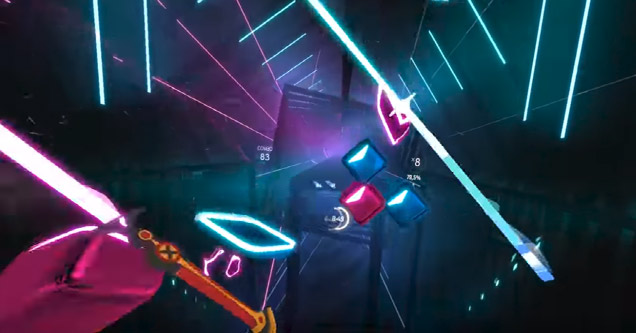 a screenshot from the virtual reality game beat saber where you hit musical blocks with light sabers to play a song