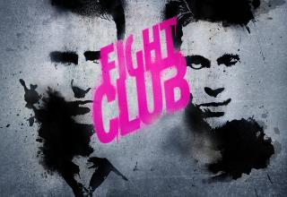 a black and white spray painted image of the narrator and tyler durden with words fight club in bright pink