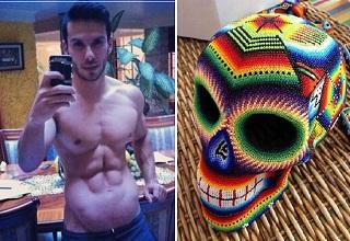 muscular guy with weird stomach and a knitted skull