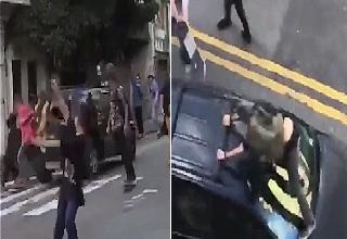 mad man in a car disrupts Go Skate day in Sao Paulo