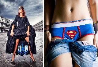 woman wearing cape and superman panties