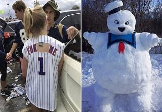 girl wearing baseball jersey and stay puft snowman
