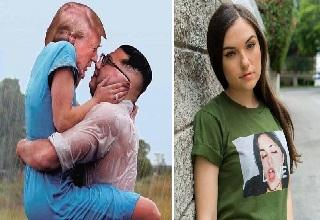 trump and kim jong un as lovers and Sasha Grey wearing shirt with her having orgasm in photo on the shirt