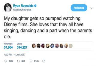 Ryan Reynolds tweet his daughter loving disney films and that a parent always dies in each one