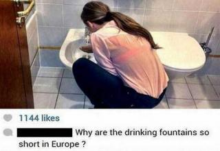 Pictured: Woman is facing bidet and hunched over it. Text: Why are the drinking fountains so short in Europe?
