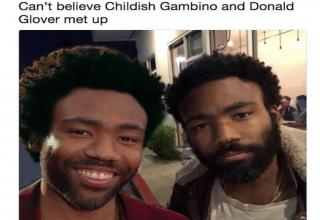 donald glover posing with himself as childish gambino