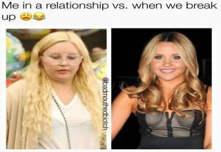 a photo of amanda bynes very heavy set and then a skinny version with text about during a relationship and after you break up