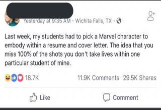 teacher assigns avengers assignment for class