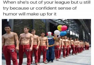 shirtless men in red pants with th clown from IT in the middle