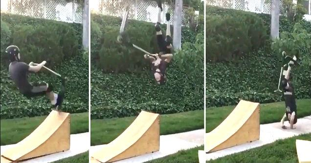 three vertical pics showing a kid trying but failing at jumping his kick scooter on a ramp