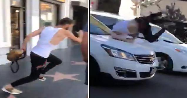 guy gets hit by car when running