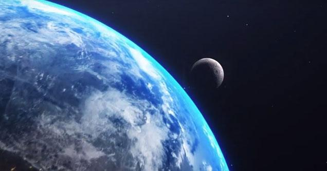 a photo of earth from space with the moon passing close by