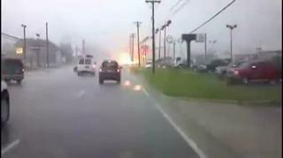 Downed Powerline Puts On Light Show In Roadway view on ebaumsworld.com tube online.