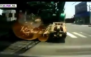 Crane Truck Gives Car Unplanned Tow view on ebaumsworld.com tube online.