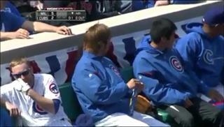 Cubs Player Boots Out Of Play Foul Ball Into His Own Face view on ebaumsworld.com tube online.