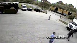 Train, truck crash caught on surveillance Cam view on ebaumsworld.com tube online.