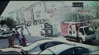 Raw: Dramatic Bus Crash in Turkey Caught-on-Tape view on ebaumsworld.com tube online.
