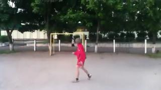 Soccer Player Boy Hits An Old Lady With A Ball. view on ebaumsworld.com tube online.