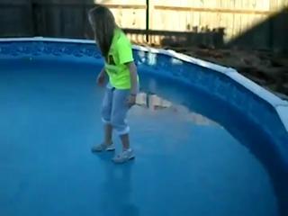 Girl falls through frozen pool view on ebaumsworld.com tube online.