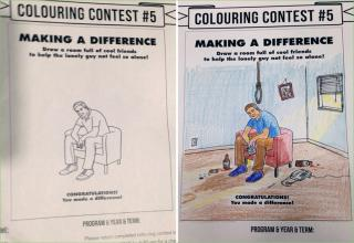coloring book of a guy sitting in a chair with a noose over his head