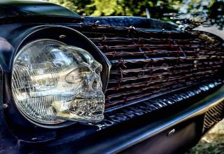 car grille with skull headlight