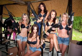 shoting tits with Women guns big