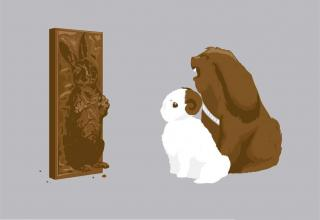 Bunnies that look like Chewbacca and Leia look at a bunny that looks like Han Solo, encased in chocolate.