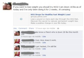 Woman on Facebook talks about how she lost weight. But she got hacked and really is still fat.