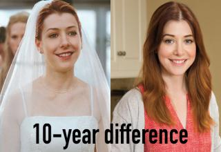 Alyson Hannigan looking the same in two separate photos taken 10 years apart.
