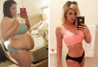 a heavy set girl in a polka dot bikini and an after photo with her much thinner