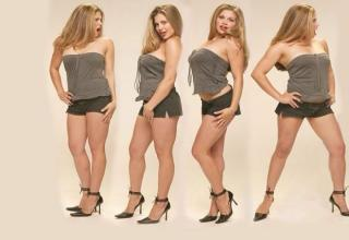 Topanga aka Danielle Fishel posing in different ways and look