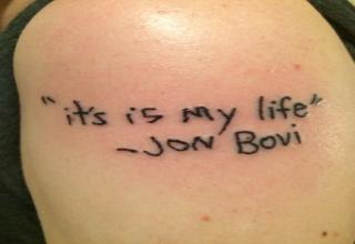 bon jovi tattoo misspelled