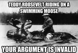 Teddy Roosevelt riding a swimming moose. Your argument is invalid.