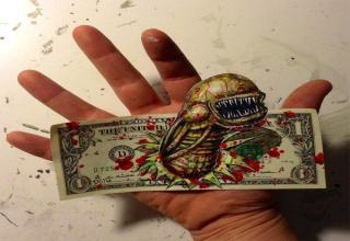chest bursting alien 3d dollar bill art