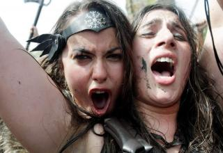 two women dressed as vikings in spain's viking festival