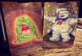 echo and stay puft lunch bags