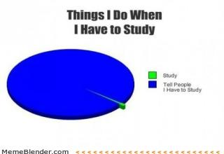 Things I Do When I Have to Study: Pie chart shows 'study' as a tiny piece of the pie, and 'Tell people I have to study