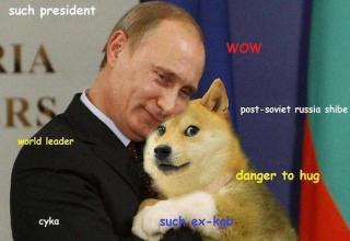 Putin holding a doge.