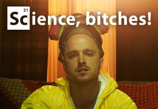 Jesse from breaking bad sits on couch while wearing hazmat suit. text reads: Science, bitches!