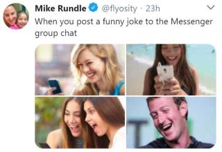 a meme about group text with 3 friends and then mark zuckerberg