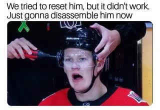 funny meme of robocop style head drill on a hockey player
