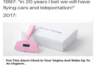 Meme about how we thought the future would have flying cars and an alarm clock that you insert in your vagina to wake you up to an orgasm