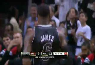 LeBron jumps over other player for the slam view on ebaumsworld.com tube online.