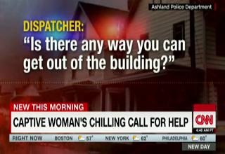 cnn news screen with 911 dispatcher text on it